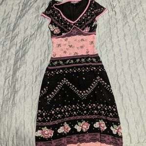 Betsey Johnson Pink & Black Floral Print Dress
